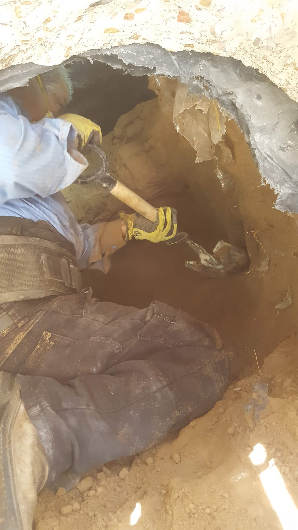 Digging to find leak